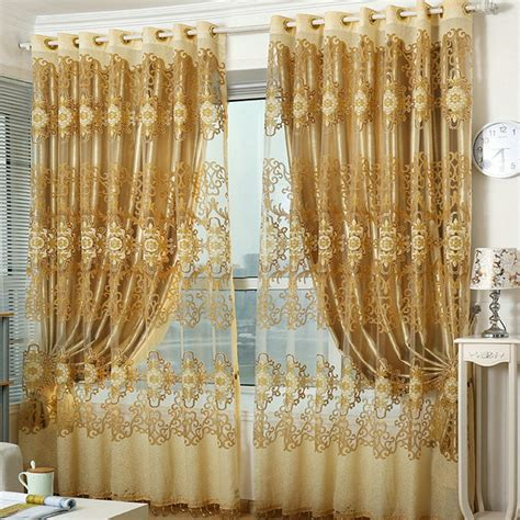 red embroidered curtains aliexpress com buy ready made window curtains red golden