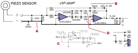 piezoelectric sensor circuit diagram piezo sensor with with op circuit help needed