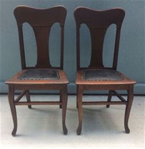 Tiger Oak Dining Chairs Antique Quarter Sawn T Back Tiger Oak Dining Chairs Set Original Finish Leather Antiques