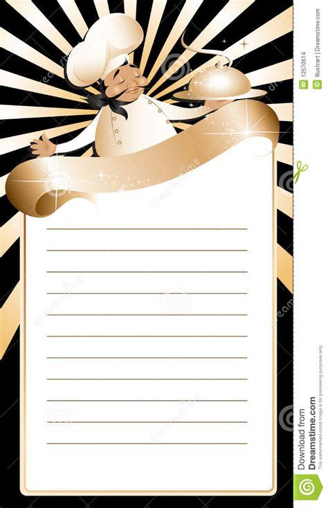 golden chef menu template stock vector illustration