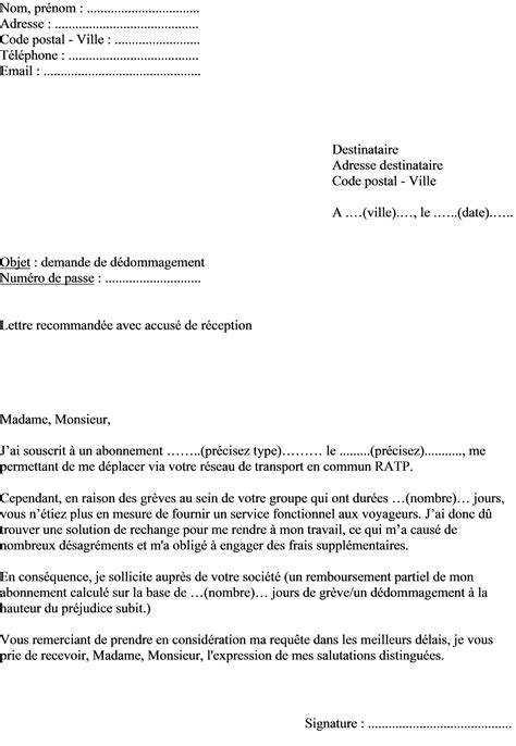 Exemple Lettre De Motivation Ratp mod 232 le de lettre r 233 clamation ratp m 233 tro rer tramway