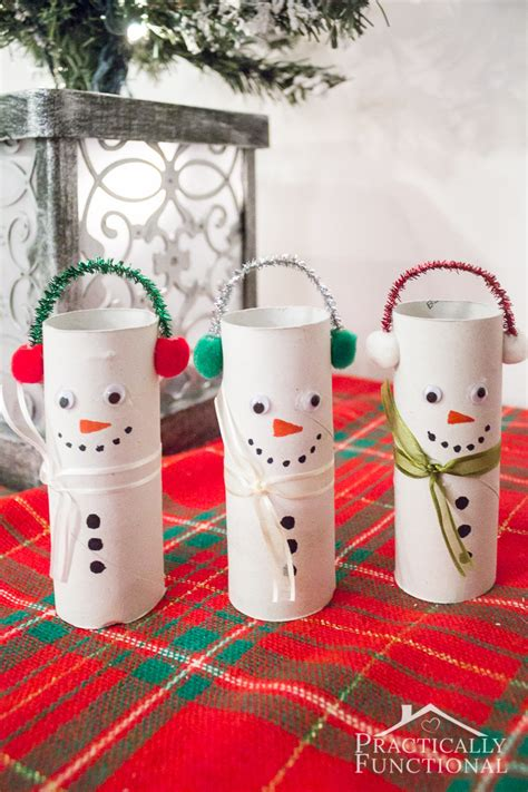 Snowman Toilet Paper Roll Craft - diy toilet paper roll snowmen