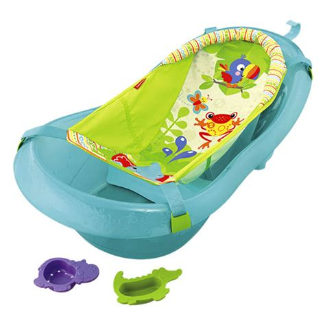 fisher price rainforest bathtub soft padded sling comfortably cradles newborns in fisher