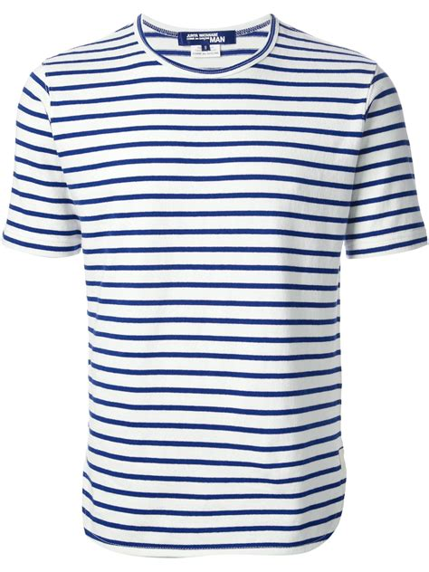 White And Blue Shirt lyst junya watanabe striped t shirt in blue for