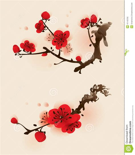 oriental style painting plum blossom in spring stock