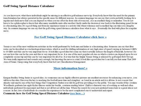 swing speed distance calculator golf swing speed distance calculator by