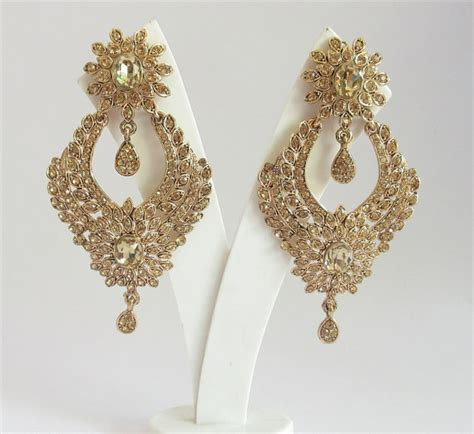 Lange Ohrringe Hochzeit by Gold Antique Rhinestone Earrings For Bridal Wedding