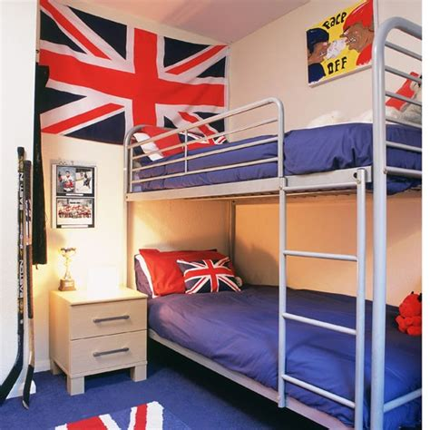 Bunk Beds Boy Small Boys Bedroom With Bunk Beds And Union Flag Boys Bedroom Ideas And Decor Inspiration