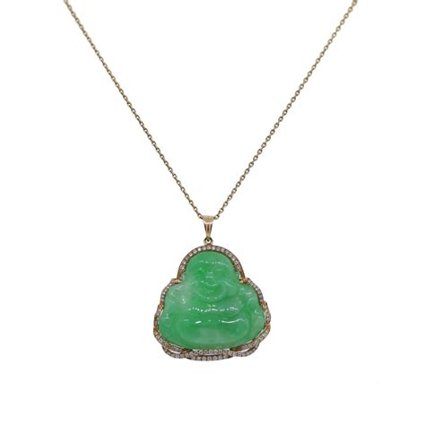 Jade Pendant Necklace 14k yellow gold and jade buddha pendant and chain