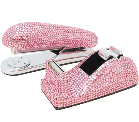 Pink Desk Accessories Set Pink Stapler Dispenser Desk Accessory Set With Swarovski Crystals Ebay