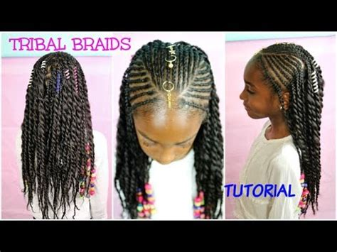 KIDS NATURAL HAIR STYLES   TRIBAL BRAIDS & BEADS TUTORIAL