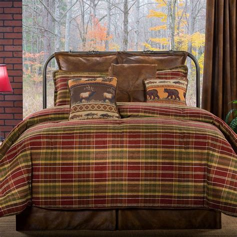 plaid bed montana morning rustic plaid comforter bedding