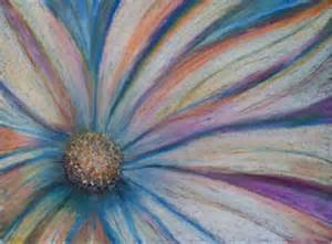 daisy oil pastel drawing original pink blue flower by