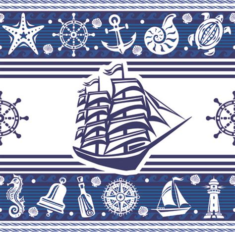 nautical pattern vector nautical elements blue seamless pattern vector free vector