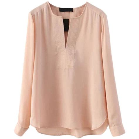 Simple Pink Top pink pretty v neck plain chiffon pullover blouse 25 liked on polyvore featuring tops