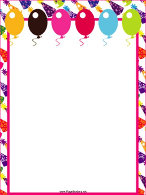 Balloons And Hats Party Border Free Printable Birthday Borders And Frames