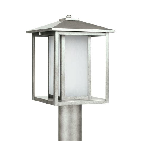 Pewter Outdoor Lighting Sea Gull Lighting Hunnington 1 Light Outdoor Weathered Pewter Post Light 89129en 57 The Home Depot