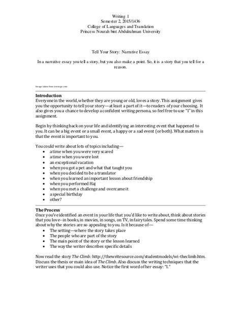Narrative Essay Assignment by Writing 1 Narrative Writing Assignment 2