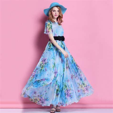 Summer Dress Pantai Sundress Mini Dress Ond Spagstrap Wh 2015 biru bunga sifon lengan pendek pantai gaun pengiring