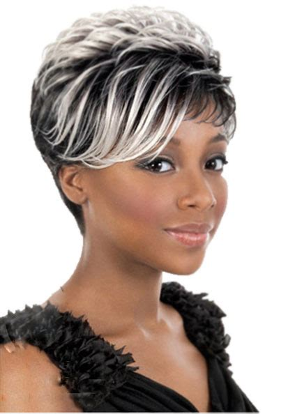 short african american hair with highlight black roots white highlights short wig for black women