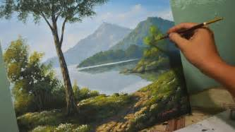 free painting lesson acrylic landscape painting lesson morning in lake by