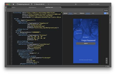 xamarin layout templates live xaml previewing with the xamarin forms previewer