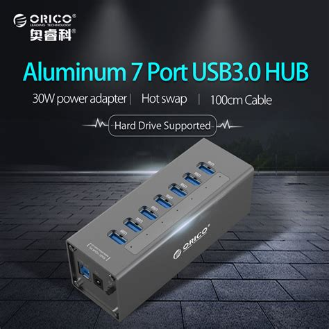 Usb Hub Orico 7 Port Usb3 0 orico aluminum 7 port high speed desktop usb3 0 hub 5gbps with power adapter hub for macbook