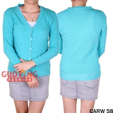 Rajut Polos Cardigan Rajut Rajut Wanita Baju Rajut Hitam Polos baju cardigan panjang wanita rajut biru muda carw 58