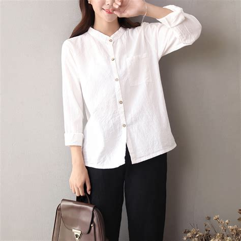 Sale Blouse High Quality solid sleeve linen cotton white shirts blouses high quality summer casual shirt blue