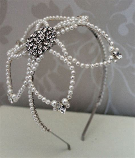 Handmade Wedding Tiaras - handmade diamante side tiara bridal headdress wedding
