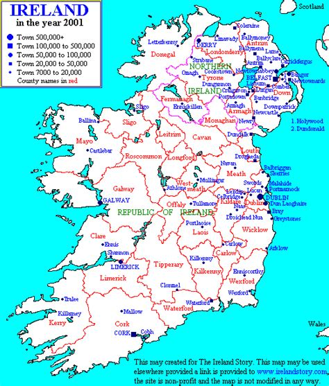 printable map ireland counties towns ulsterheritage com all things ulster maps of ireland