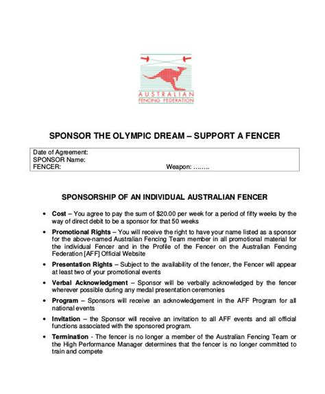 Individual Sports Sponsorship Template Sport Sponsorship Letter Gallery Cv