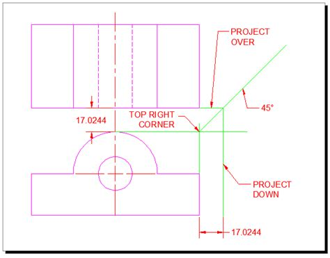 top right or right top orthographic projection tutorial for autocad with video