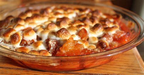 twice baked maple cinnamon yams with mini marshmallows recipe dishmaps