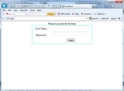 A typical login page for a web application in C# ... Login Asp