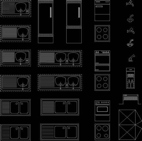 Evier Dwg by Kitchen Applications Blocks02 Dwg Block For Autocad