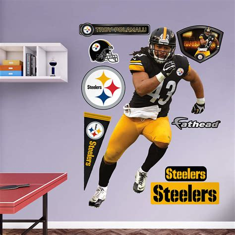 steelers room decor size troy polamalu wall decal shop fathead 174 for pittsburgh steelers decor