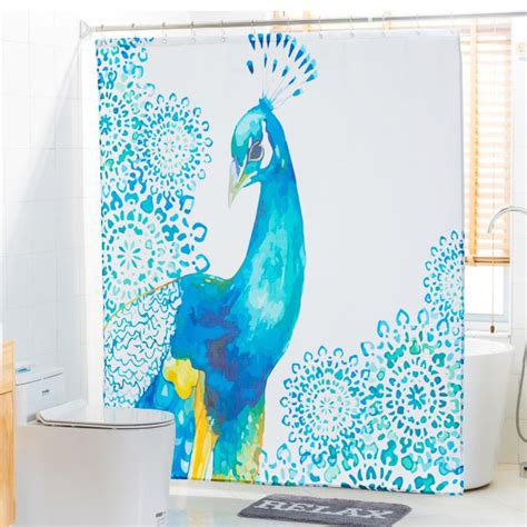 Blue And White Shower Curtains Blue And White Peacock Shower Curtains