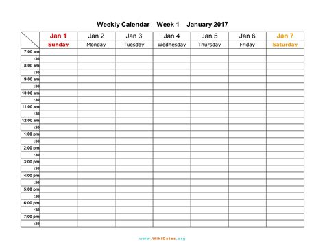 printable calendar by week 2017 week calendar 2017 yearly calendar template