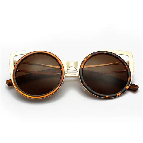 New Sunglasses 743 Silver 1 fashion charm metal cat eye ear shades lens