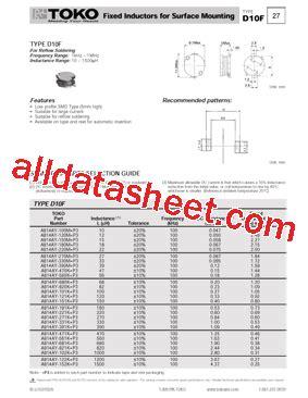 toko inductor datasheet a814ay 101k datasheet pdf toko inc