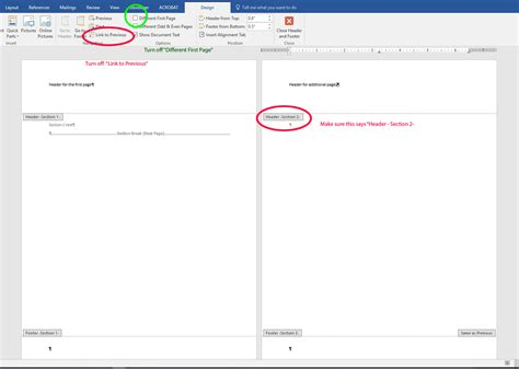 page layout different sized headers in ms word