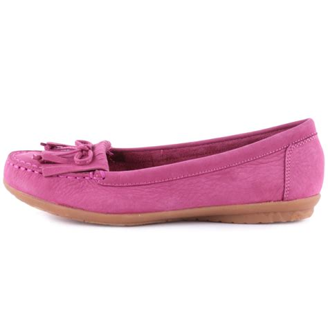 hush puppies ceil mocc kilty womens leather pink moccasins