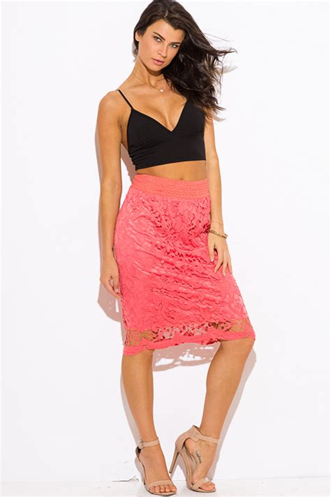 shop coral crochet lace high waisted fitted boho midi