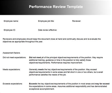 performance review template doc performance review template word anuvrat info