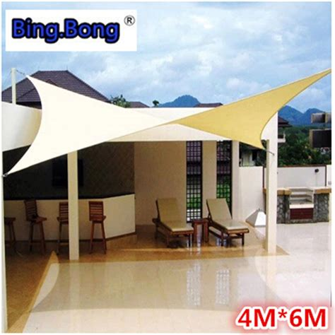 Sail Cloth Awnings by Outdoor Sun Shade Sail Shade Cloth Canvas Awning Canopy Shading Waterproof 4 6m Fabric Gazebo