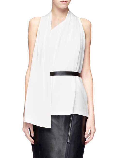draped white top alexander wang crepe silk draped top in white lyst