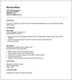 professional hair stylist resume
