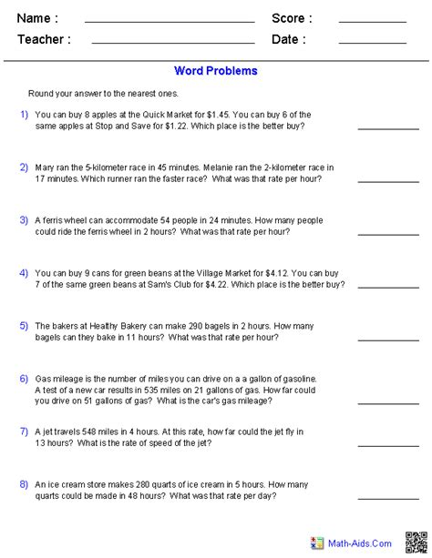 Rates Worksheet 6th Grade by Ratio Worksheets Ratio Worksheets For Teachers