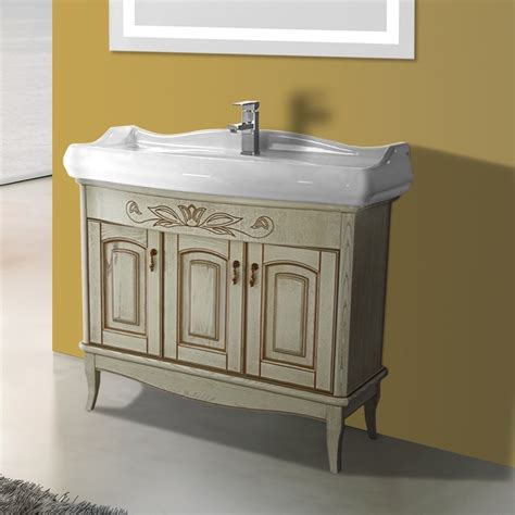 39 inch floor standing vanilla vanity cabinet with fitted